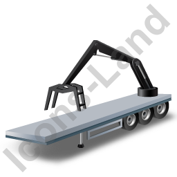 Flatbed Trailer Loader Crane Rear Black Icon, PNG/ICO, 256x256