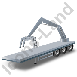 Flatbed Trailer Loader Crane Rear Grey Icon