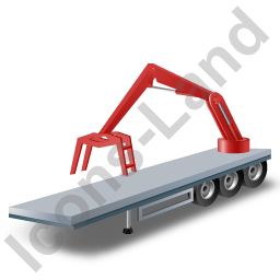 Flatbed Trailer Loader Crane Rear Red Icon