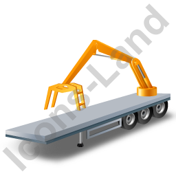 Flatbed Trailer Loader Crane Rear Yellow Icon