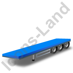 Flatbed Trailer Blue Icon, PNG/ICO, 256x256