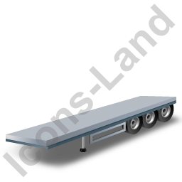 Flatbed Trailer Grey Icon, PNG/ICO, 256x256