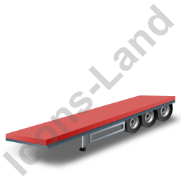 Flatbed Trailer Red Icon, PNG/ICO, 256x256
