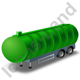 Waste Tanker Trailer Green Icon, PNG/ICO, 256x256