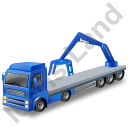 Flatbed Truck Loader Crane Rear Blue Icon, PNG/ICO, 128x128
