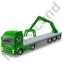 Flatbed Truck Loader Crane Rear Green Icon