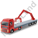 Flatbed Truck Loader Crane Rear Red Icon, PNG/ICO, 128x128