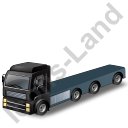 Tractor Flatbed Trailer Black Icon, PNG/ICO, 128x128