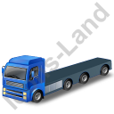Tractor Flatbed Trailer Blue Icon, PNG/ICO, 128x128