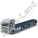 Tractor Flatbed Trailer Grey Icon, PNG/ICO, 128x128