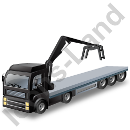 Flatbed Truck Loader Crane Head Black Icon