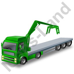 Flatbed Truck Loader Crane Head Green Icon