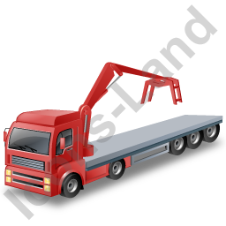 Flatbed Truck Loader Crane Head Red Icon