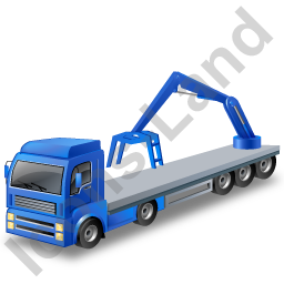 Flatbed Truck Loader Crane Rear Blue Icon, PNG/ICO, 256x256