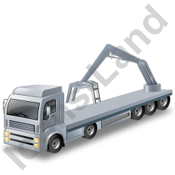 Flatbed Truck Loader Crane Rear Grey Icon