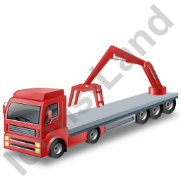Flatbed Truck Loader Crane Rear Red Icon, PNG/ICO, 256x256
