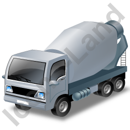 Mixer Truck Grey Icon, PNG/ICO, 256x256