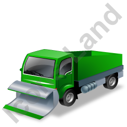 Snow Plow Truck Green Icon, PNG/ICO, 256x256