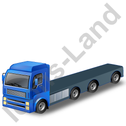 Tractor Flatbed Trailer Blue Icon, PNG/ICO, 256x256