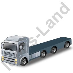Tractor Flatbed Trailer Grey Icon, PNG/ICO, 256x256