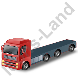 Tractor Flatbed Trailer Red Icon