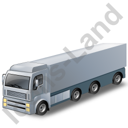Tractor Trailer 2 Grey Icon, PNG/ICO, 256x256