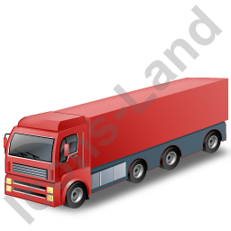 Tractor Trailer Red Icon, PNG/ICO, 256x256
