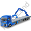 Flatbed Truck Loader Crane Rear Blue Icon, PNG/ICO, 64x64