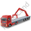 Flatbed Truck Loader Crane Rear Red Icon, PNG/ICO, 64x64