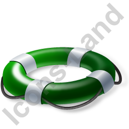 Lifebuoy Green Icon, PNG/ICO, 256x256