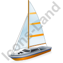 Sailboat Yellow Icon, PNG/ICO, 128x128