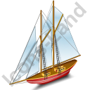 Sailing Ship Red Icon, PNG/ICO, 128x128