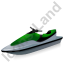 Water Motorcycle Green Icon, PNG/ICO, 128x128