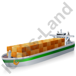 Container Ship Green Icon, PNG/ICO, 256x256