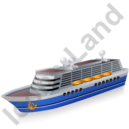 Cruise Ship Blue Icon, PNG/ICO, 256x256