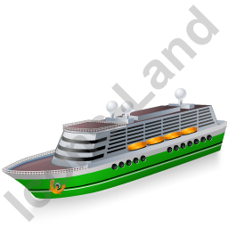 Cruise Ship Green Icon