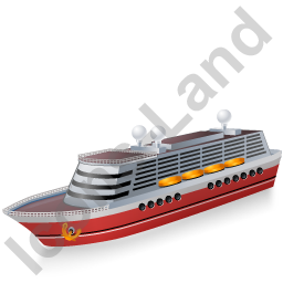 Cruise Ship Red Icon, PNG/ICO, 256x256