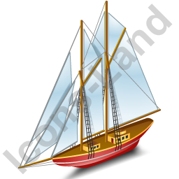 Sailing Ship Red Icon, PNG/ICO, 256x256