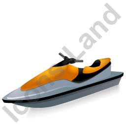 Water Motorcycle Yellow Icon, PNG/ICO, 256x256