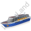 Cruise Ship Blue Icon, PNG/ICO, 64x64