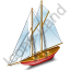 Sailing Ship Red Icon, PNG/ICO, 64x64