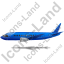 Airliner Left Blue Icon, PNG/ICO, 128x128
