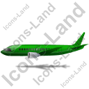 Airliner Left Green Icon, PNG/ICO, 128x128