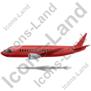 Airliner Left Red Icon, PNG/ICO, 128x128