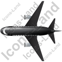 Airliner Top Black Icon, PNG/ICO, 128x128