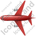 Airliner Top Red Icon, PNG/ICO, 128x128
