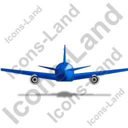 Airliner Back Blue Icon, PNG/ICO, 256x256