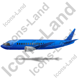 Airliner Left Blue Icon, PNG/ICO, 256x256