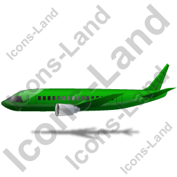 Airliner Left Green Icon, PNG/ICO, 256x256
