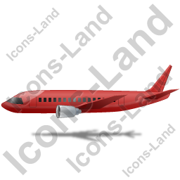 Airliner Left Red Icon, PNG/ICO, 256x256